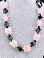 """Бусы из натуральных камней Розовый кварц, Агат, Горный хрусталь 70 см. """"Рафинад"""" - для харизматичной и яркой"""