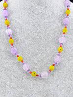 Бусы из натуральных камней Аметист, Пренит, Сердолик 69 см.  - нежное украшение с позитивной энергетикой