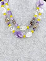 Бусы из натуральных камней Раухтопаз, Горный хрусталь, Пренит 120 см. - отличный подарок женщине