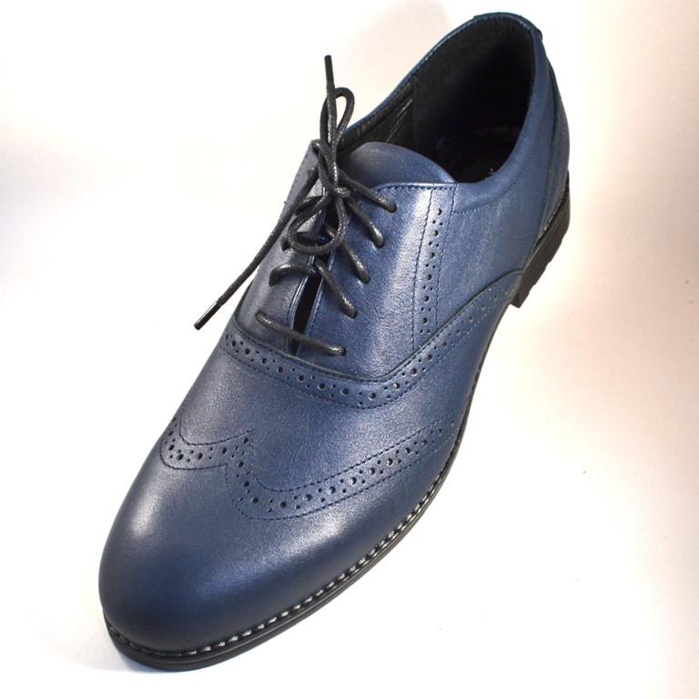 Мужские темно синие туфли кожаные броги мужские демисезонные Rosso Avangard Felicete Uomo Blu