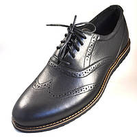Легкі туфлі броги чоловічі чорні шкіряні комфортне взуття Rosso Avangard Persona Breakage Black Leath