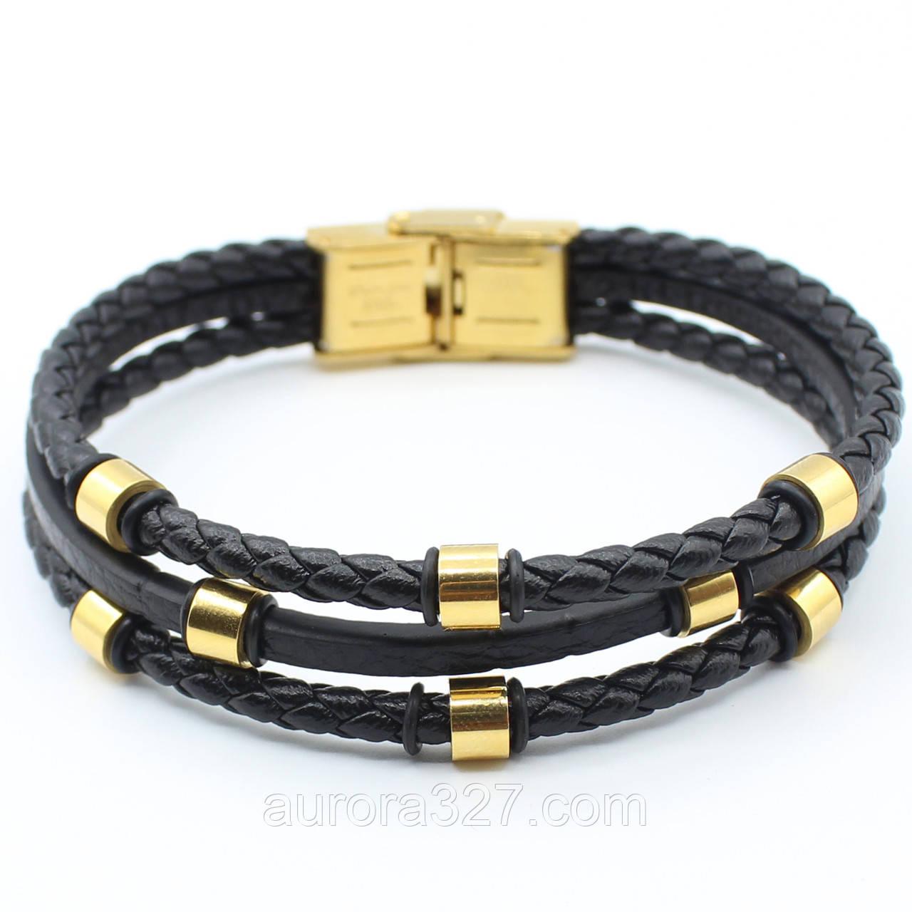 """Многослойный мужской кожаный браслет """"Гаспард"""" L-21 см"""