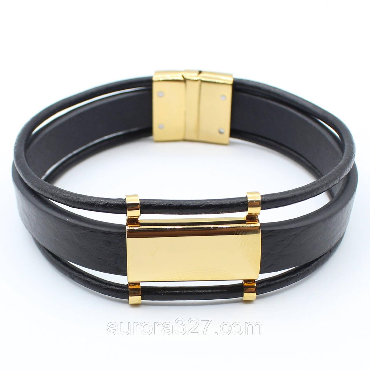 """Многослойный мужской кожаный браслет """"Гастон"""" L-21 см"""