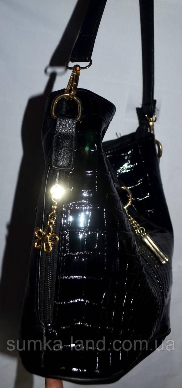 51bfe130e490 Женская маленькая лаковая сумка-торбочка на плечо 26*26 см (зеленый), ...