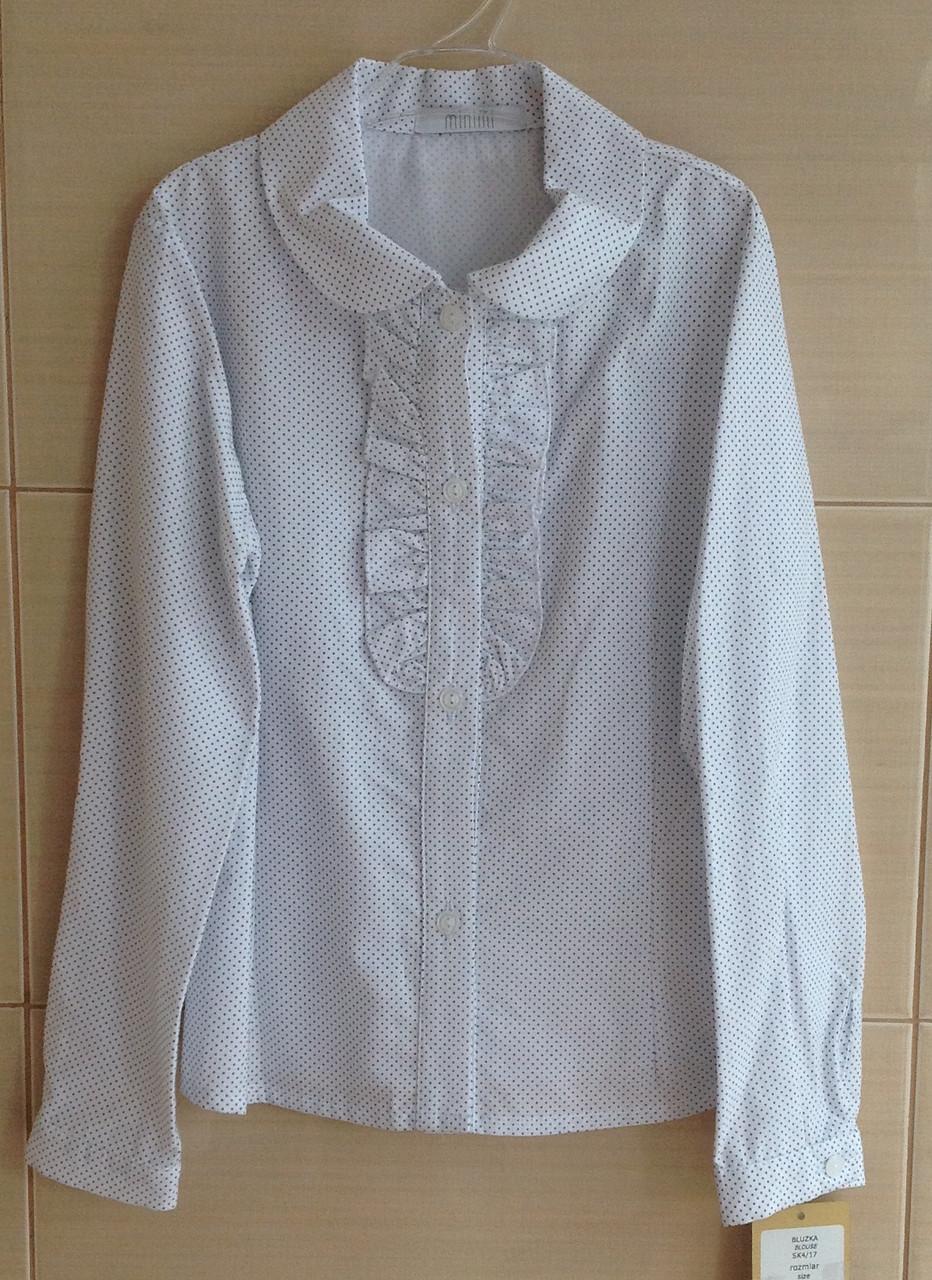 Блуза школьная белая в горошек с длинным рукавом 100% хлопок