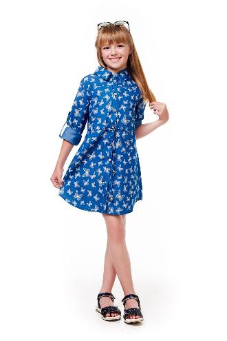 1371ea513087654 Модное детское летнее оригинальное платье-рубашка с принтом бабочек ...