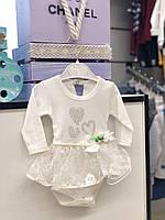 Боди - платье  с длинным рукавом для девочки 50.