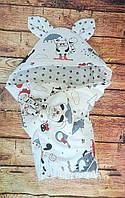 Конверт Одеяло для новорожденных на выписку с бантом и уголком осень/весна 78х78 см Лапки белый