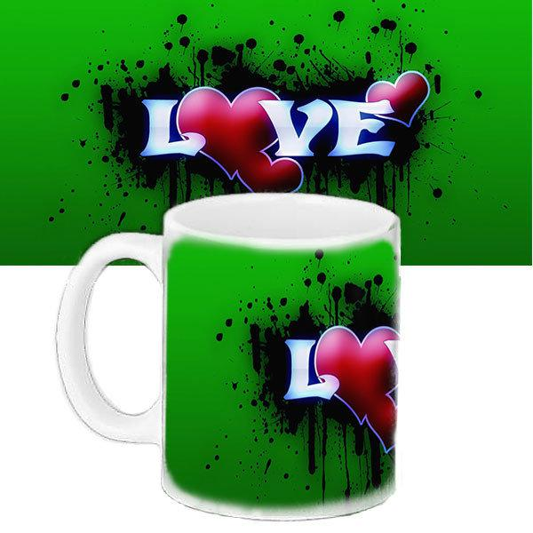 Кружка зеленая с принтом Любовь (33131)