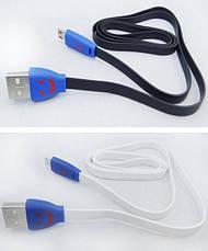 Кабель USB-micro USB 1м светящийся на основании, фото 3