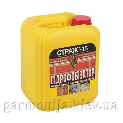 Силиконовый гидрофобизатор для кирпича и бетона «СТРАЖ-15» (готовый раствор), бутылка 5 л, фото 2