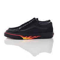 """Мужские кеды Vans Old Skool """"Black Flame"""" (в стиле Ванс """"пламя"""") черные"""
