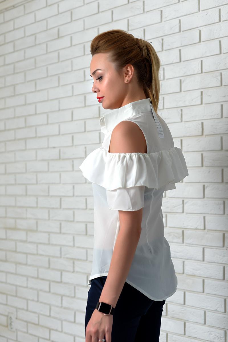 Блуза арт. 904 с двойным рюшем молочная