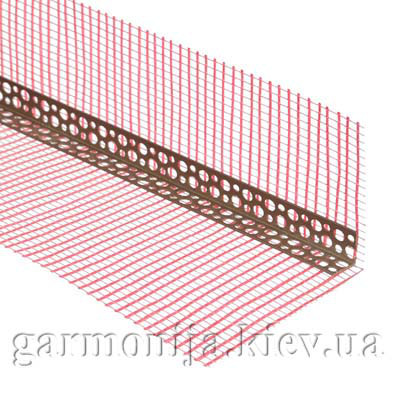 Профиль угловой ПВХ перфорированный с сеткой 10х15 м, 3.0 м