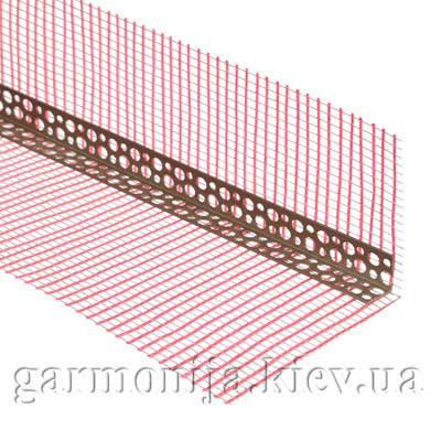 Профиль угловой ПВХ перфорированный с сеткой 10х15 м, 3.0 м, фото 2