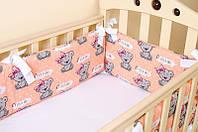 """Бортики в детскую кроватку """"Медвежата с бантом"""" + простынь на резинке , фото 1"""
