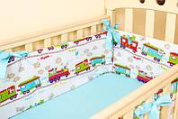 """Бортики в детскую кроватку """"Зверята в поезде"""" + простынь на резинке, фото 1"""