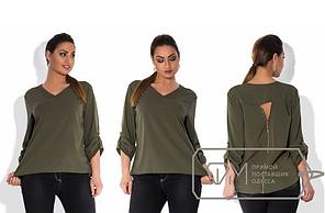 Стильная женская блуза цвет хаки РАСПРОДАЖА р. 54