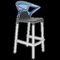 Барное кресло Papatya Ego-K антрацит сиденье, верх прозрачно-синий, фото 1