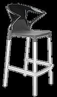 Барное кресло Papatya Ego-K антрацит сиденье, верх черный, фото 1