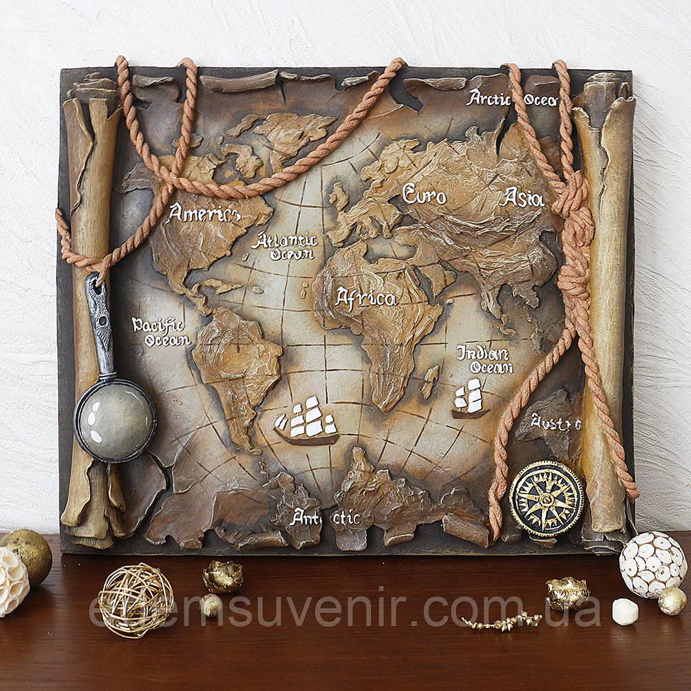 Панно Древняя карта мира цветное