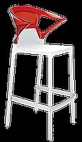 Барное кресло Papatya Ego-K белое сиденье, верх прозрачно-красный, фото 1
