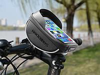 Фирменная Велосипедная сумка на руль Rockbros с козырьком ( под смартфон 6 дюймов ), фото 1