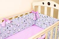"""Бортики в детскую кроватку """"Розовые барашки"""" + простынь на резинке, фото 1"""