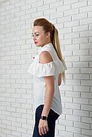 Блузка нарядная арт. 905 с рюшем молочная, фото 1