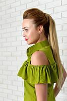 Нарядна Блузка арт. 905 з рюшем зелена, фото 1