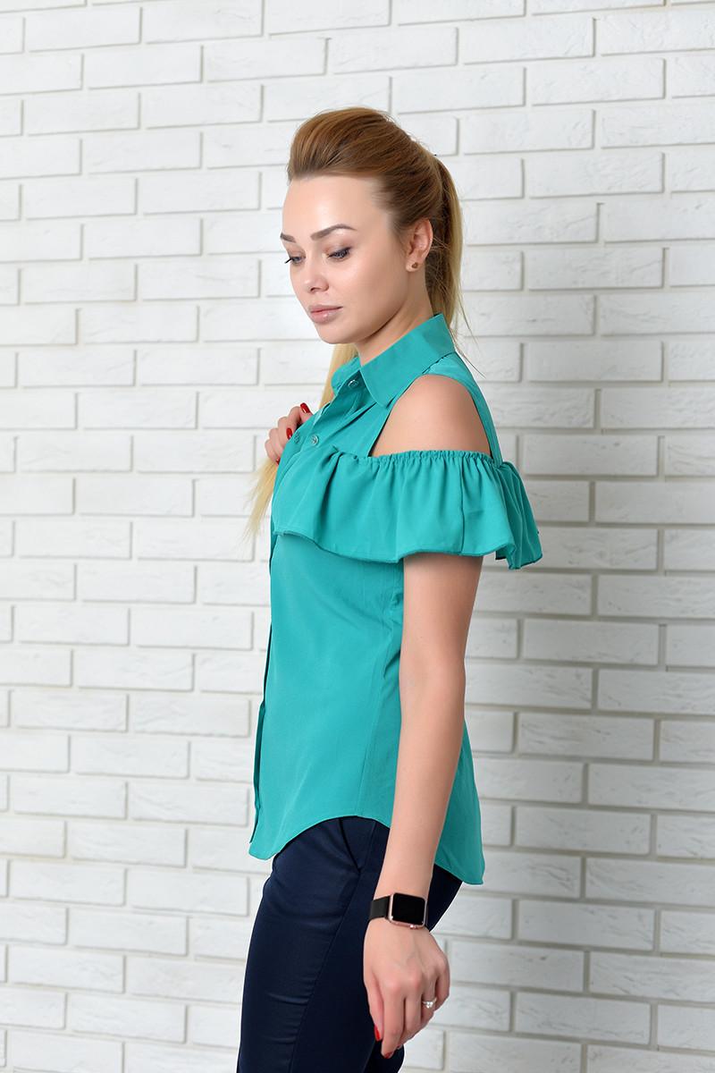 Блузка нарядная арт. 905 с рюшем бирюза