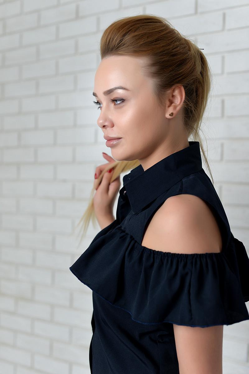 Блузка нарядная арт. 905 с рюшем темно-синяя