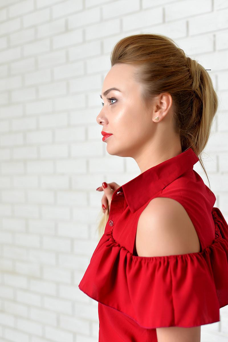 Блузка нарядная арт. 905 с рюшем вишня
