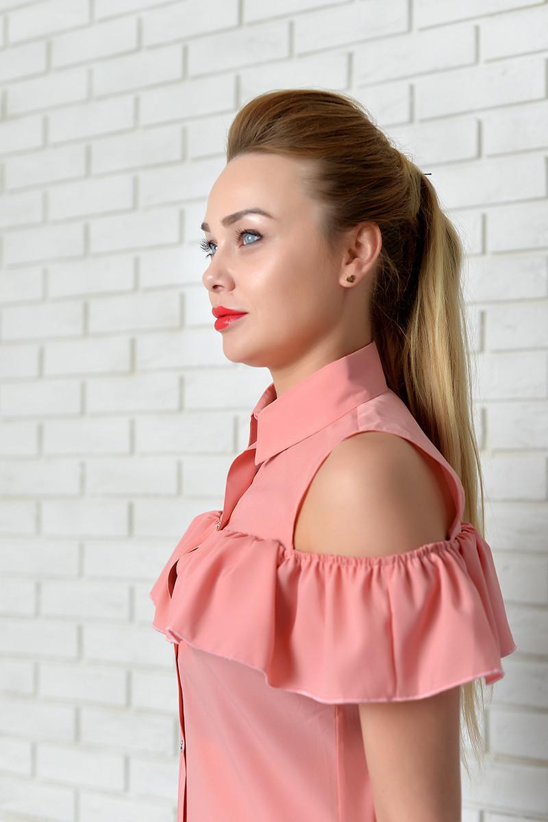 Блузка нарядная арт. 905 с рюшем пудра