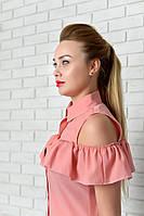 Блузка нарядная арт. 905 с рюшем пудра, фото 1