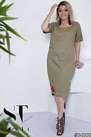 Стильне жіноче плаття із льону з принтом квіти великих розмірів оливковий  розмір 50-52 54 d211a2e7812e5
