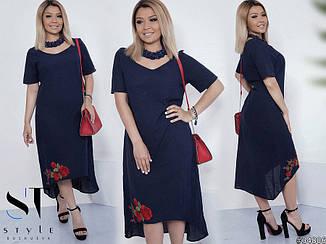 Стильне жіноче плаття із льону з принтом квіти великих розмірів темно-синій розмір  50- 6f5d0c7c8cc9f