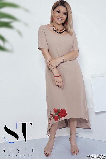 ed7da211e057e2 Стильне жіноче плаття із льону з принтом квіти великих розмірів кавовий розмір  50-52 54