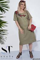 Стильне жіноче плаття із льону з квітами великих розмірів оливковий ... 8f95681bcf508