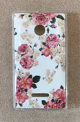 Силиконовый чехол для Nokia Lumia 435/532 (Flowers), фото 2