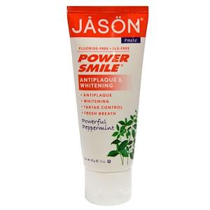Jason Natural, PowerSmile, отбеливающая паста, перечная мята, 85 г