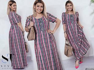 Стильне жіноче літнє плаття в полоску великих розмірів кавовий розмір 48-50  52-54 299f23bdd789e