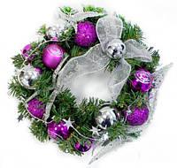 Новогодний венок Фиолетовый 30см