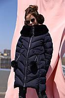 Детская зимняя куртка на биопухе для девочек (рост 116-158)