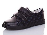 Детские чёрные туфли мокасины со значком Armani для мальчиков Размеры 35-36