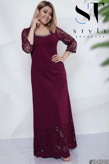 Стильне жіноче вечірнє плаття з кружевом великих розмірів марсала розмір 48 50  52 54 56 58 60 719ad358052b2