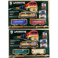 ЖД 19059-1-2  локомотив 16см, вагон 2шт, звук, свет, 2вида, на батарейках, в коробке, 38-26,5-5см