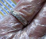 Обручальное Кольцо с ФИАНИТАМИ  1.95 грамма 17.5 мм. ЗОЛОТО 585 пробы, фото 7