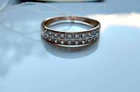 Обручальное Кольцо с ФИАНИТАМИ  1.95 грамма 17.5 мм. ЗОЛОТО 585 пробы, фото 1