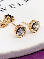 Серьги-гвоздики 5 мм ХР. Медицинское золото. Код:1032
